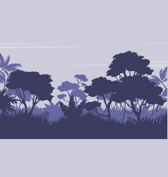 Silhouette of forest on purple background vector