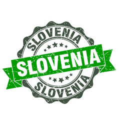 Slovenia round ribbon seal vector