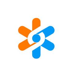 star technology circle logo vector image
