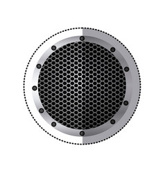 Sticker circular metallic frame with grill vector