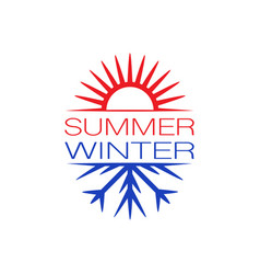 summer and winter symbols background vector image