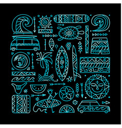 Surfing background tribal elements for your vector