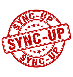 Sync-up red grunge stamp vector