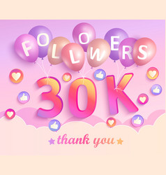 thank you 30k followers banner vector image