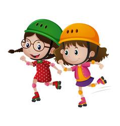 Two girls rollerskate together vector