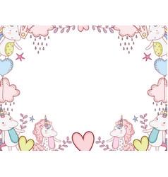 Unicorns and fantasy cartoons frame vector