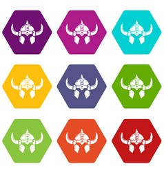 viking helmet knight icons set 9 vector image