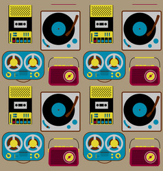 vintage electronics seamless pattern vector image