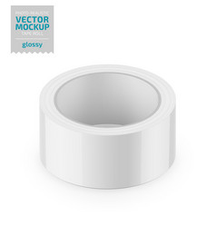 White glossy cello tape roll realistic vector