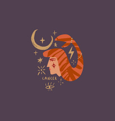 zodiac girl cancer character space head sign vector image