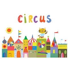 Circus background with funny builidngs animals and vector image