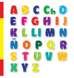 cute funny childish spanish alphabet font vector image