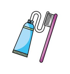 Dental toothbrush with paste vector