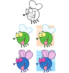 Fly Cartoon Characters Collection vector image vector image
