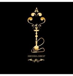 Golden Shisha hookah black silhouette vector image