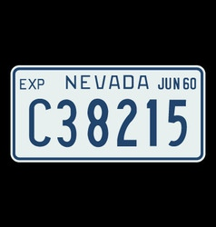 Nevada 1960 license plate vector image vector image