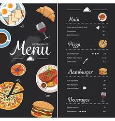 restaurant food menu design with chalkboard vector image