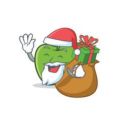 santa green apple character cartoon with gift vector image vector image