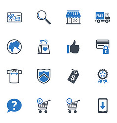 Shopping and E-commerce Icons Set 2 - Blue Series vector image vector image