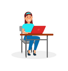 smiling girl working on laptop computer at her vector image vector image