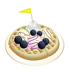 Tradition Waffle with Blueberries and Ice Cream vector image