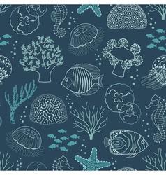 Underwater life pattern vector