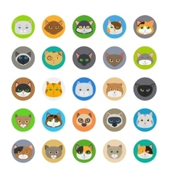 Cute cat heads icons vector image vector image