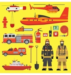 Fire brigade equipment infographics set vector image vector image