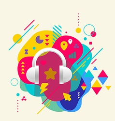 Headphones on abstract colorful spotted background vector image