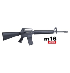 Realistic M16 rifle isolated on a white vector image vector image