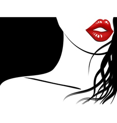 Background of woman with red lips and long hair vector image vector image