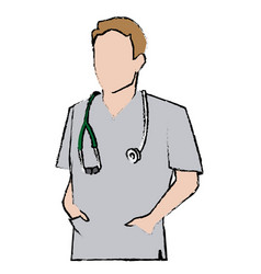 Doctor man wearing coat and hand in pocket vector