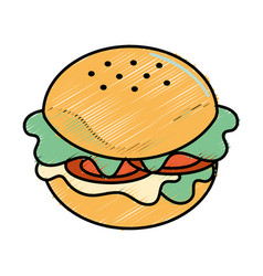 Fast food hamburger meal vector