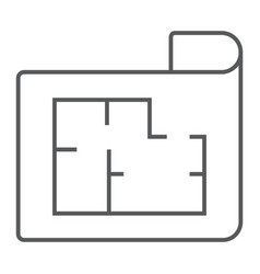 house plan thin line icon real estate and home vector image
