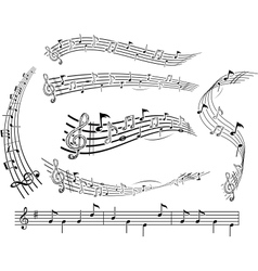 music notes on score vector image