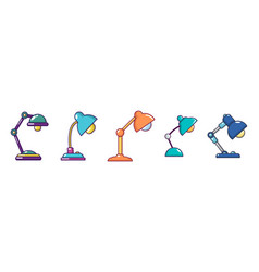 Table lamp icon set cartoon style vector