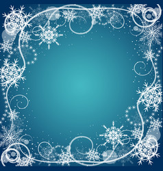 beautiful winter frame made of snowflakes vector image vector image