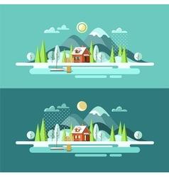 Nature Winter Landscape vector image vector image
