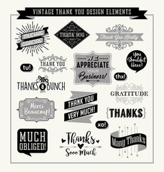 set of thank you card design elements vector image vector image