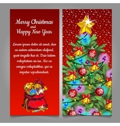 Two cards with Christmas tree and bag with gifts vector image