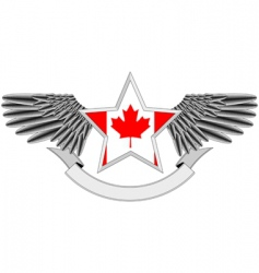 winged star with canadian flag vector image