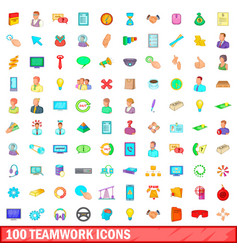 100 teamwork icons set cartoon style vector image