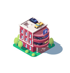 3d isometric cars using multi level parking vector image