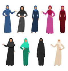 A set muslim arabic women wearing traditional vector