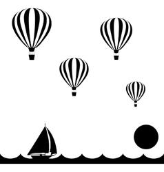 Aerostats flying in sky over the sea at sunset vector