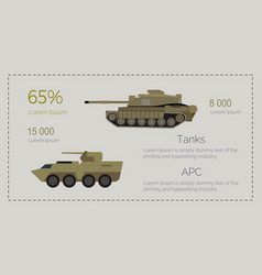 armored tank forces flat style infographics vector image