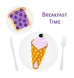 belgian chinese waffle with cream berries toast vector image