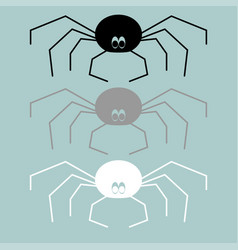 Black grey white spider icon black grey white vector