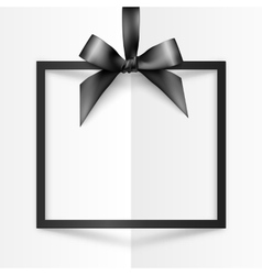 Black holiday squared frame with bow and silky vector image