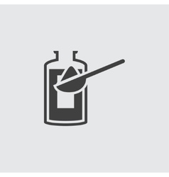 Bottle and spoon icon vector image